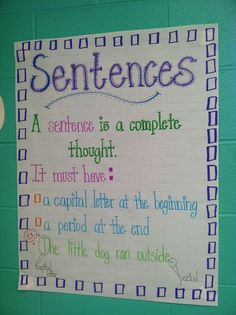 Sentences Anchor Chart! Great reminder...start with a capital letter and end with a period! From Life in First Grade: My Week in Review