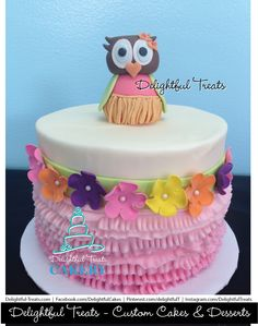 Custom Owl Happy Birthday Cake by Delightful Treats Custom Cake