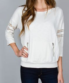 Loving this Ivory Laser-Cut Pocket Top - Women on #zulily! #zulilyfinds