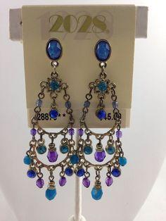 Fashion Jewelry Earrings-1928 Jewelry Co.Blue Rhinestones&Crystals Dangle/drop #1928JewelryCo #DropDangle