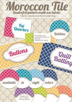 I seriously love these!  Erin Rippy of Inktreepress.com designed these fabulous free printable labels.  There are TONS of color options and sizes, and the fact that they come as editable PDF files means that you can open the file, type in your own titles and print! :: Take me to the Free Download ::
