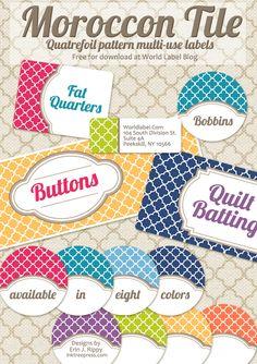 Quatrefoil Free Printable, Editable Labels