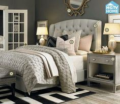Copy Cat Chic Room Redo | Glamorous Gray Bedroom This awesome upholstered bed is from TARGET online!!!