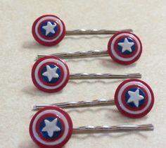 Marvel's The Avengers polymer clay Captain America shield bobby pin by TwoSistersWithStyle on Etsy.