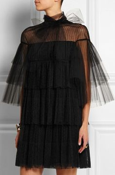 Lace & Tulle Tiered Point D'Esprit Dress in Black