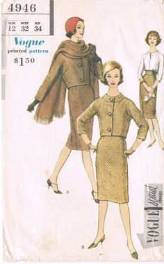 Vogue 4946  Vintage 1950s Sewing Pattern  Size 12  Bust 32