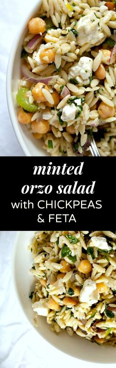 Minted Orzo Salad Recipe with Chickpeas and Feta Cheese - this deliciously easy vegetarian side dish is my most requested! Its loaded with fresh flavor from herbs and a bright lemon vinaigrette and it tastes amazing hot or cold so feel free to make Orzo Salad Recipes, Chickpea Salad Recipes, Veggie Recipes, Vegetarian Recipes, Healthy Recipes, Recipes With Feta Cheese, Recipes With Chickpeas, Pasta Salad, Food Salad