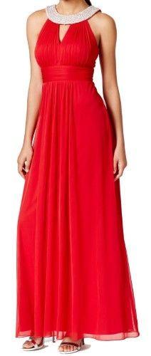 6df9bc1894a Onyx Nite Red Embellished Neck Chiffon Halter Gown 8  429 DBFL