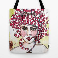 """TOTE BAG / 16"""" X 16""""   Medusa Doce. Illustration by Gra Pereira. http://society6.com/grapereira/Medusa-Doce_Bag#26=197"""