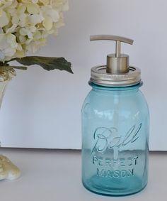Great Mother's Day Gift Idea!! Mason Jar Soap Dispenser Blue Ball Mason Jar Soap by JudysJunktion, $35.00