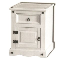 Premium Corona White Painted Bedroom Furniture 1 Door Bedside Table Shabby Chic