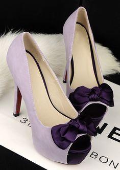 $15 purple sweet silk bow high-heeled shoes fish head waterproof Taiwan banquet wedding shoes-ZZKKO