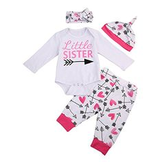 03c96941c 0 to New Style Newborn Baby Girls Clothes Litter Sister Long Sleeve Romper+ Pants+Hat+Headdress Baby Clothing Set .