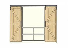 Mueble-estantería multifuncional con puertas corredizas - montaje