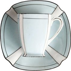 #MondayBlues #VintageBeginsHere at www.rubylane.com @rubylanecom -- Art Deco Blue & White Noritake 1920's Porcelain Cup and Saucer - A Pair