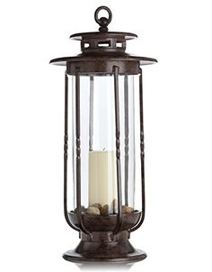 $119.00=H Potter Large Decorative Hurricane Lantern Glass Candle Holder, Cast Iron, Rustic Indoor & Outdoor Light with Powder Coat Finish Centerpiece for Home, Wedding & Farmhouse Decor