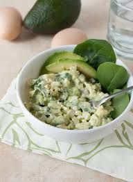 Ingredients:  1 ripe avocado 5 hard-boiled eggs, chopped 2 large celery stalks, chopped juice from 1/2 of a lemon 1/4 cup green onions, chopped 1 Tbs. olive oil based mayonnaise salt and pepper, to taste  Directions:  Mash the avocado in a large bowl. Mix in the lemon juice. Add the chopped eggs and the remaining ingredients.  Season with salt and