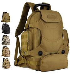 Protector Plus Tactical Military MOLLE Assault Backpack Pack 3 Way Molle Modular Attachments 40L Large Waterproof Bag Rucksack with Patch Sport Outdoor Gear For Hunting Cycling Camping Trekking