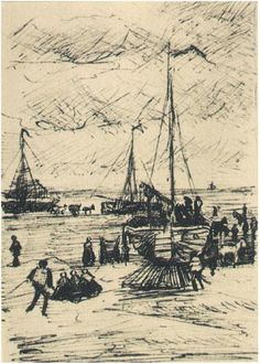 Beach and Boats - Vincent van Gogh . Created in The Hague in Located at Van Gogh Museum. Find a print of this Letter Sketches Artist Van Gogh, Van Gogh Art, Art Van, Vincent Van Gogh, Van Gogh Drawings, Van Gogh Paintings, Monet, Desenhos Van Gogh, Van Gogh Pinturas