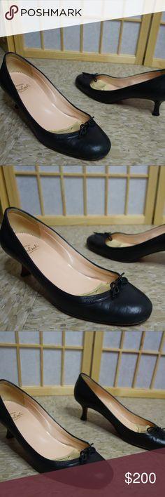 e6d33beb8f Louboutin Black Bow Kitten Heel Red bottoms 39 vtg Christian Louboutin red  bottom kitten heels black
