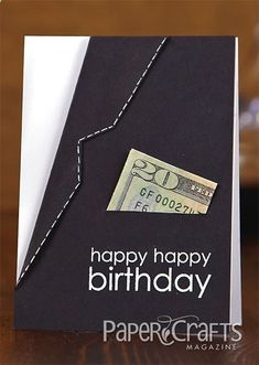 Stylish Suit Jacket Happy Birthday Card  Gift Card Holder...Amy Wanford - Paper Crafts Card Creations for Him.