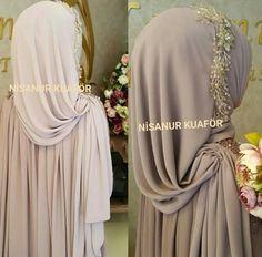Hijab tying - Another! Wedding Abaya, Wedding Hijab Styles, Wedding Dress Suit, Hijab Wedding Dresses, Bridal Dresses, Abaya Mode, Mode Hijab, Turban Hijab, Hijab Style Dress