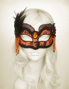 Bright Orange And Black Feather Masquerade Mask  by SOFFITTA