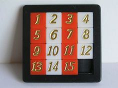 OLD SQUARE NUMBERS PUZZLE GAME PLASTIC TOY