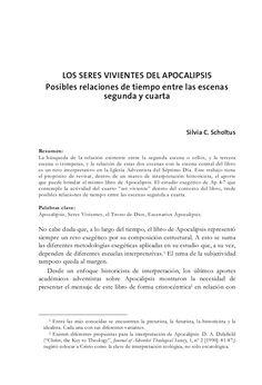 LOS SERES VIVIENTES DEL APOCALIPSIS Posibles relaciones de tiempo entre las escenas segunda y cuarta    Silvia C. Scho...