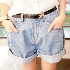 Горячая ретро Большой размер женщин девушки синий высокой талией отбортовки джинсовые шорты мыть джинсы свободного покроя молния манжетой классические шорты CL0189 купить на AliExpress