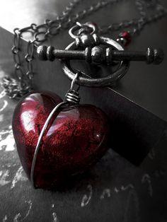 Heart of Darkness - Dark Red Heart Pendant Necklace, Deep Red Murano Glass Heart - Sexy Love Valentine Gift Rocker Goth Gothic Girlfriend