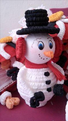 muñeco de nieve de papel crepé. Ariadna Cruz.