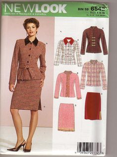 Simplicity 6542 Size Women's Skirt Suit Sewing Pattern for sale online Skirt Patterns Sewing, Simplicity Sewing Patterns, Clothing Patterns, Skirt Sewing, New Look Patterns, Vintage Patterns, Camisa Vintage, My Black, Skirt Suit