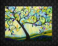 "Huge Abstract Tree Painting "" In Perfect Bloom"" via Etsy. Abstract Tree Painting, Painting & Drawing, Abstract Trees, Tree Paintings, Spring Painting, Spring Art, Tree Art, Beautiful Birds, Doodle Art"
