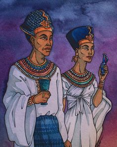 Awaiting the Aten Pharaoh Akhenaten and his wife Nefertiti with offerings, waiting for Aten to appear in the horizon. I was inspired by this lovely sculpture of the royal couple holding hands: x I'm...