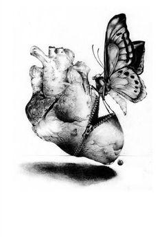 Surgery Kenn Olsen Tattoo Anatomical Heart Butterfly Canvas Art Print