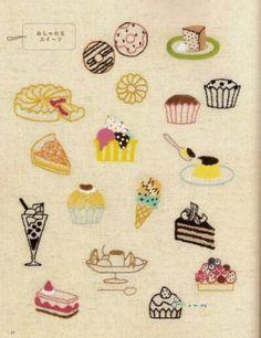 甜点刺绣图案