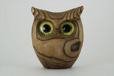 Vintage Teak Wood Owl Figurine // 1970s // Modern Minimalist // Home Decor // Wooden Teek Statue