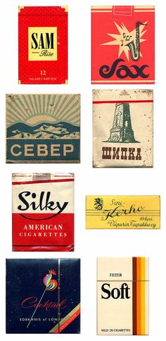 Amazing vintage cigarette pack designs from around the world « GRAM ::: disseny gràfic :::: solucions creatives Vintage Packaging, Vintage Labels, Brand Packaging, Packaging Design, Vintage Artwork, Vintage Posters, Cigarette Brands, Vintage Typography, Free Graphics
