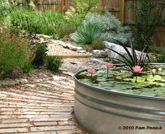 pretty pond.... totally awesome this pond. I want to have this, but how do you get such a zinc container in that size! That is the question?