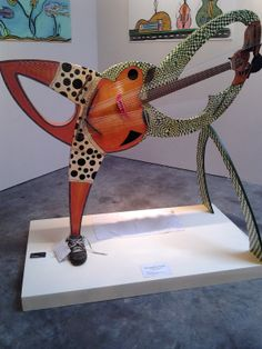 """The """"Humanitar"""" built by Fred Carlson is part of the Santa Cruz County Art of Guitar show going on at the R. Blitzer Gallery in Santa Cruz, CA through March 2014"""