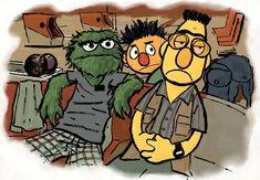 Bert, Ernie, and Oscar as The Big Lebowski bowling scene