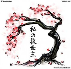 Japanese cherry blossom tree tattoo design - for under my collarbone, on the front of my shoulder/chest (minus the kanji. Tree Tattoo Meaning, Tattoos With Meaning, Tree Tattoo Designs, Tree Designs, Cherry Blossom Tree, Blossom Trees, Cherry Tree, Bonsai Tree Tattoos, Japanese Bonsai Tree