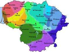 Wiki map of the various dialects of Lithuania. You need to click on the link to decipher the colour code. http://en.wikipedia.org/wiki/Lithuanian_language .png (800×606)