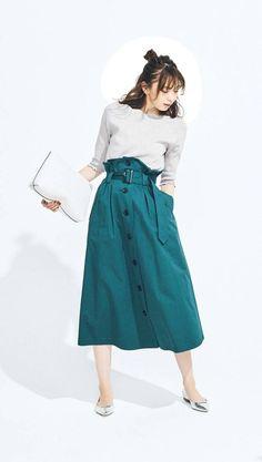 Skirt Outfits, Dress Skirt, Midi Skirt, Cute Outfits, Skirt Fashion, Fashion Outfits, Fashion Ideas, Women's Fashion, Japanese Outfits
