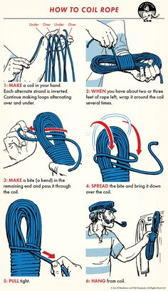 Rope is rope. It's not a fine-tuned machine. Do you really need to worry about how to take care of it?Depends on what kind of rope you're talking about. Survival Knots, Survival Tips, Survival Skills, Art Of Manliness, Wilderness Survival, Camping Survival, Camping Hacks, Emergency Preparedness, Sailing Knots