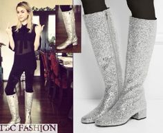 Frances Bean Cobain wears a Saint Laurent Glitter-Finished Leather Knee Boots in the color Silver.