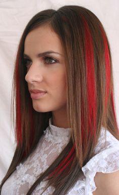 Red streak hair chalk color!