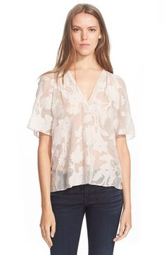 Rebecca Taylor 'Magnolia' Fil Coupe Cotton & Silk Top