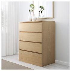 IKEA - MALM 4-drawer chest white stained oak veneer